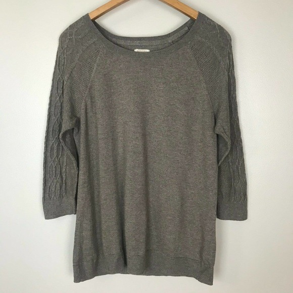 Sonoma Taupe Brown 3/4 Sleeve Sweater